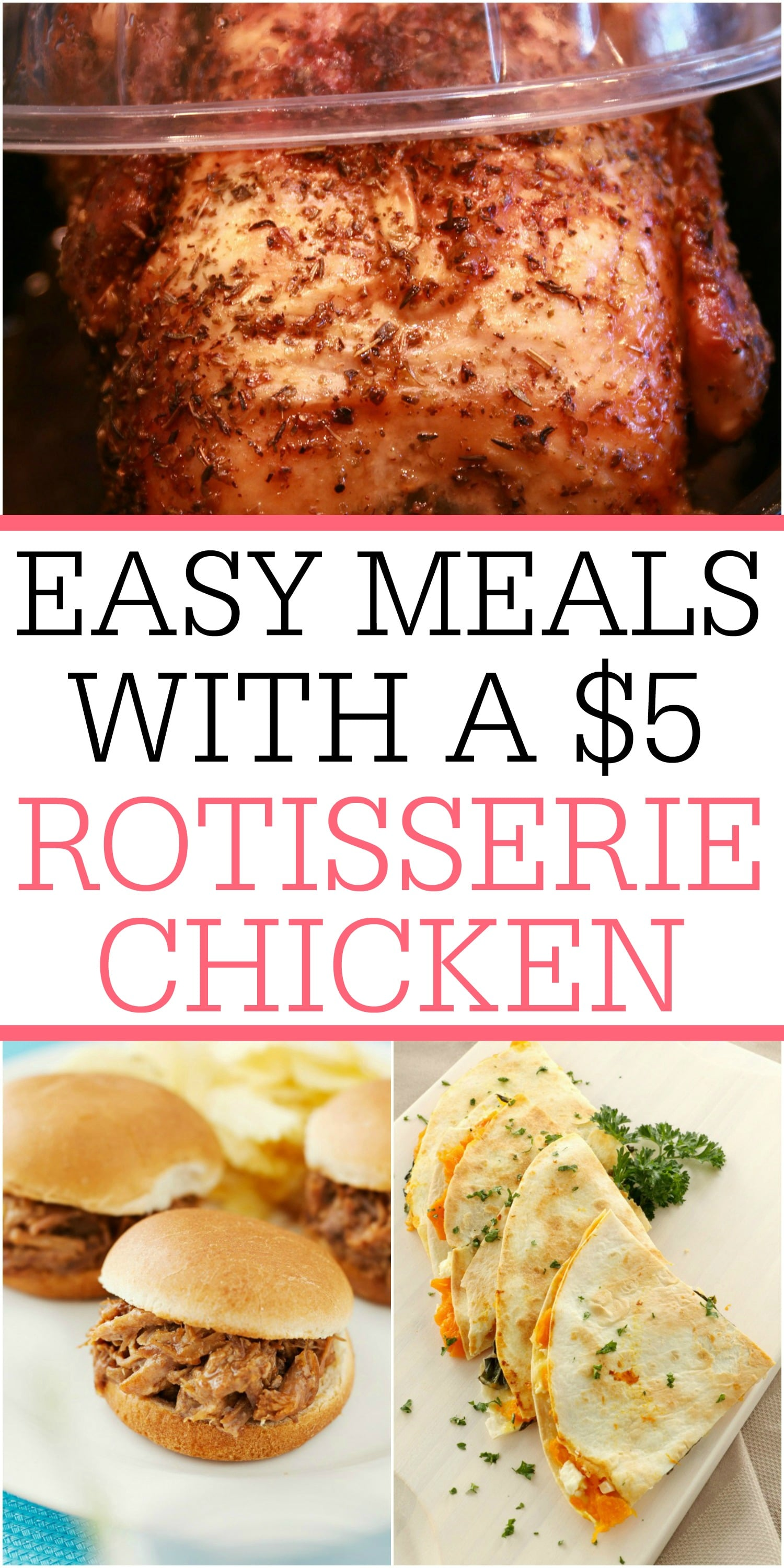 Skip the carry-out and save money with a rotisserie chicken. You can make these easy meals with a $5 rotisserie chicken. #4 is my favorite!