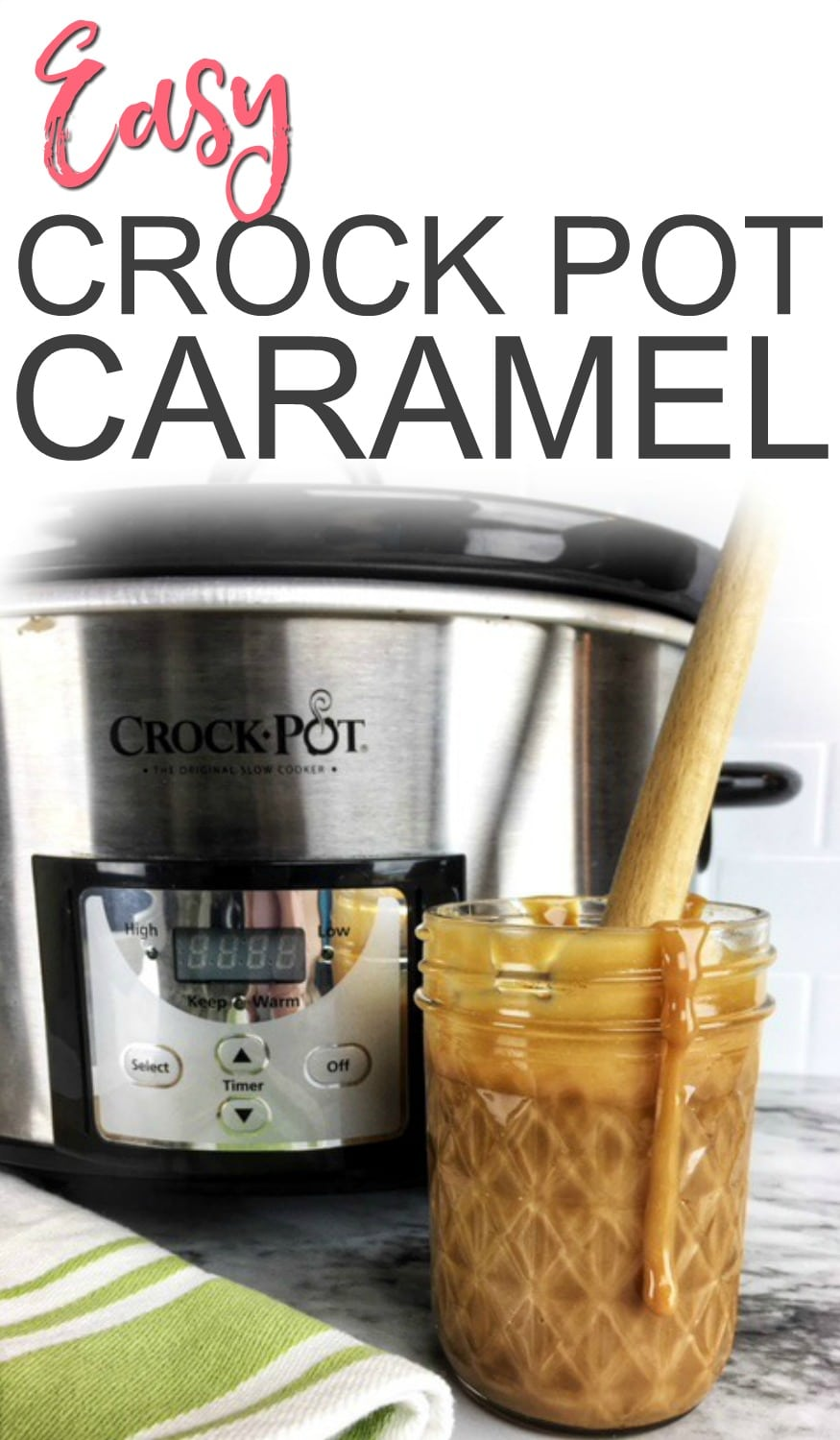 Want a new caramel dip? Try this easy-peasy crock pot caramel sauce. It tastes amazing and only needs one ingredient. #slow cooker #crock pot