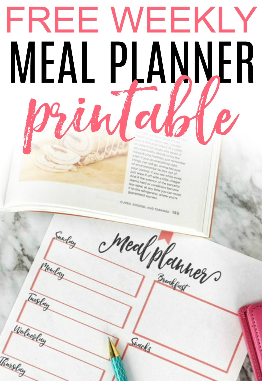 Tired of frantic evenings? Get a free weekly meal planner printable and start planning. You will save time and money. Free up your evenings again with this easy meal plan printable.