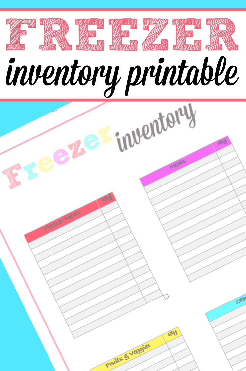 image relating to Freezer Inventory Printable referred to as Freezer Stock Printable - Frugally Blonde