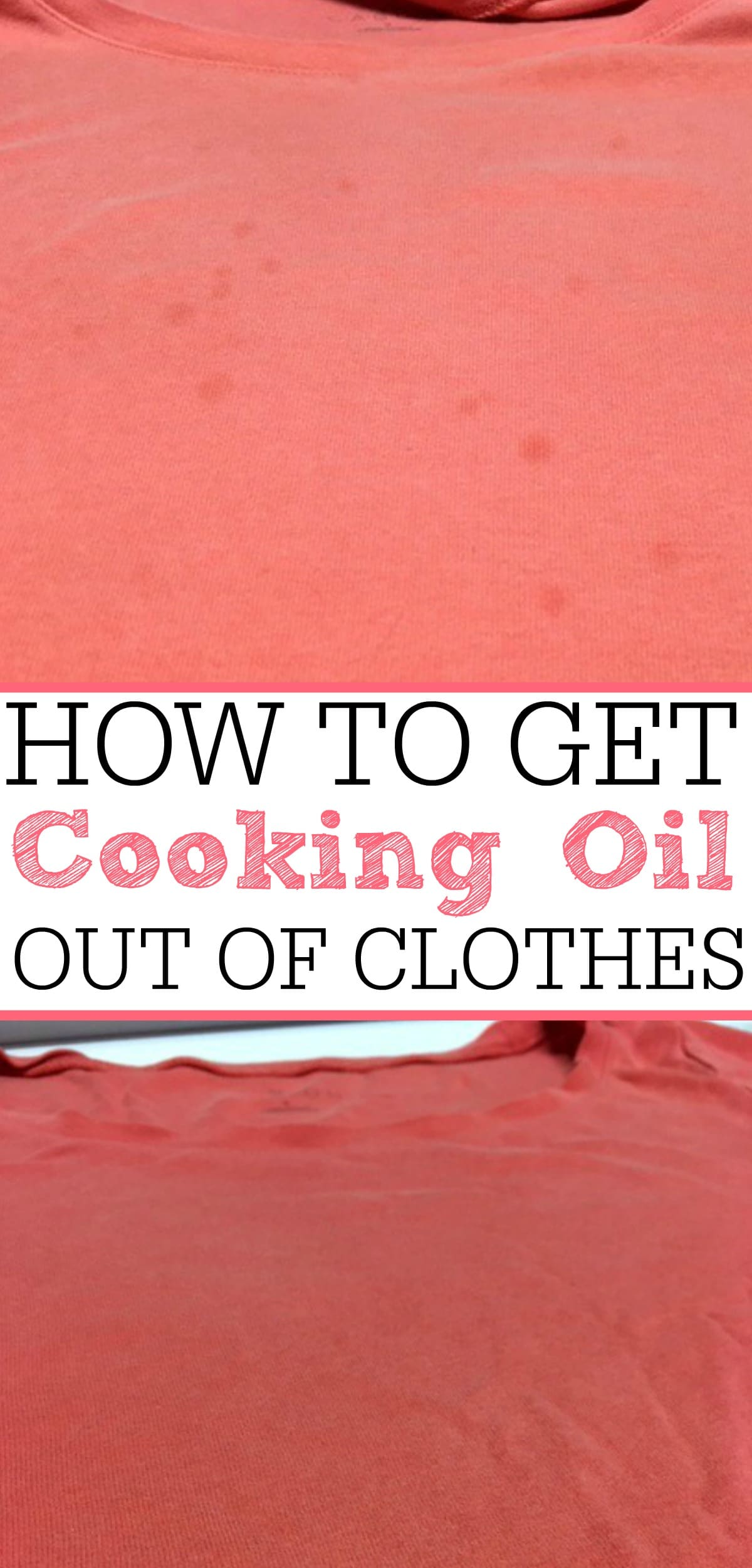 Oil stains on your favorite shirt? Check out this crazy simple tip on how to get cooking oil out of clothes. They will look like new again!