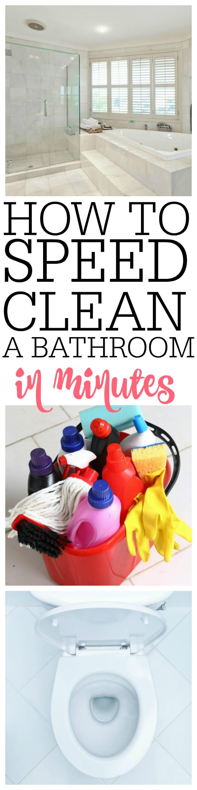 Want a better way to clean the bathroom? Work through your bathroom cleaning in minutes with these AMAZING tips on how to speed clean a bathroom.