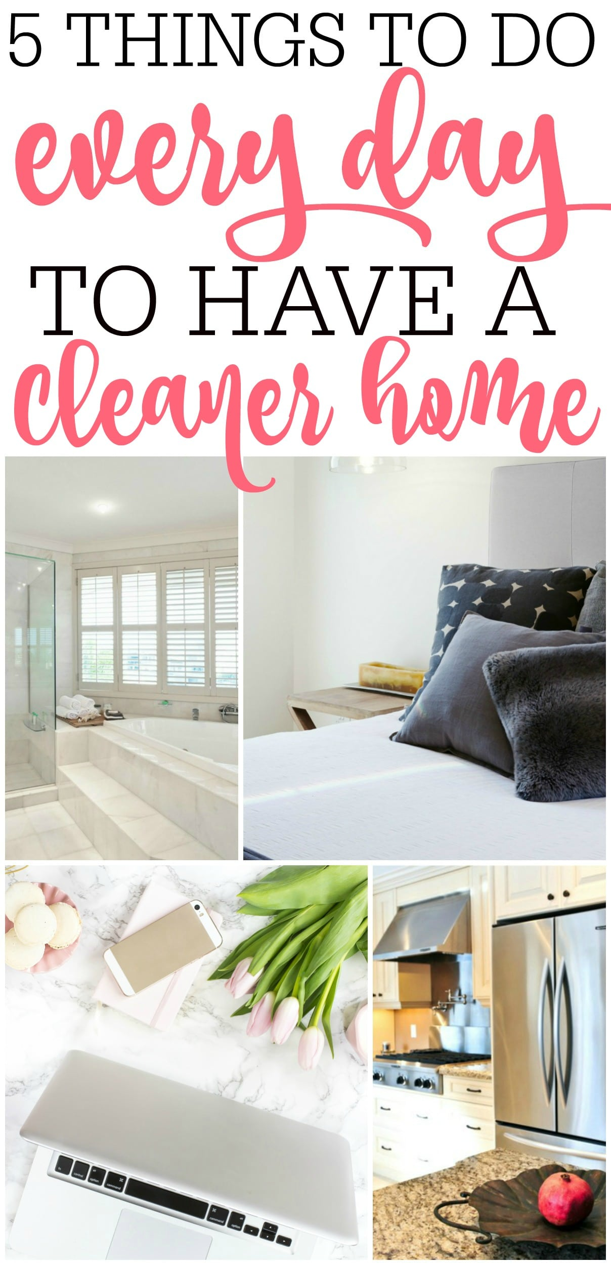 Tired of a dirty home? Try this simple tip to keep the house clean. 5 Easy Things To Do Every Day For A Cleaner Home! It makes cleaning easy.