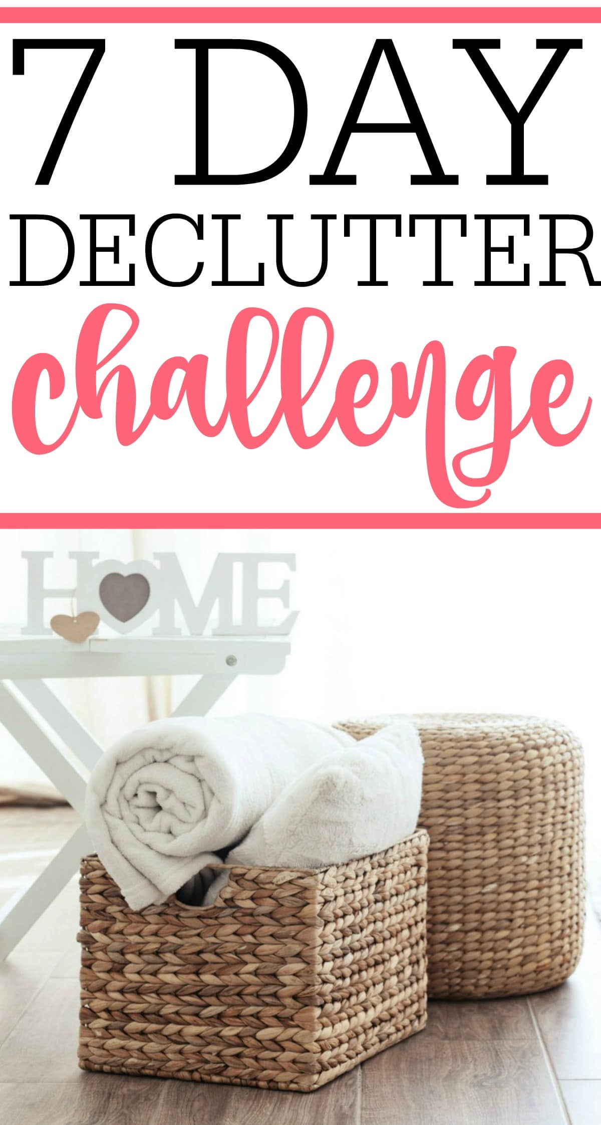 Get rid of clutter and get more organized with this 7 day decluttering challenge. You will be amazed at how a few minutes each day leads to a clutter-free home. Eliminate clutter in just days!