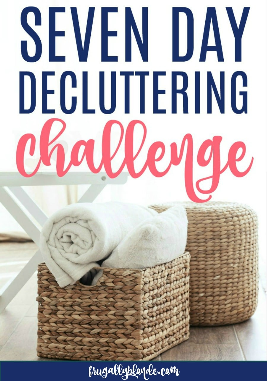 Get rid of clutter and get more organized with this 7 day decluttering challenge. You will be amazed at how a few minutes each day leads to a clutter-free home. Eliminate clutter in just days! #declutter #declutteringchallenge #organized