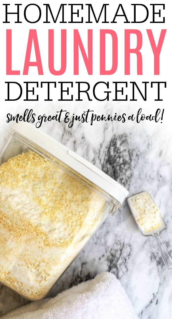 Save some money with this easy homemade laundry detergent recipe. You will love this homemade laundry soap and it only takes a few minutes to make!