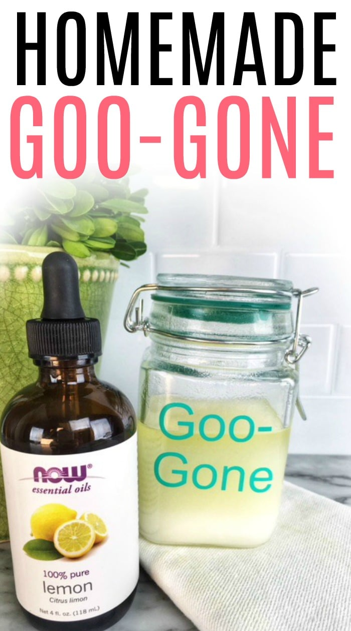 Dealing with sticky labels and gunk on stuff? Check out how to make homemade goo gone. Skip the bad smells in regular goo gone and make it yourself with this DIY goo gone recipe.