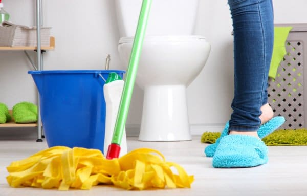 mopping bathroom