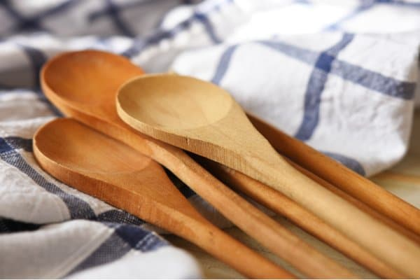 wooden spoons after being washed