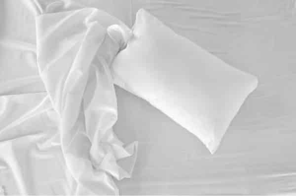 yellowed stain on pillow case